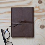 Dark brown leather tie journal
