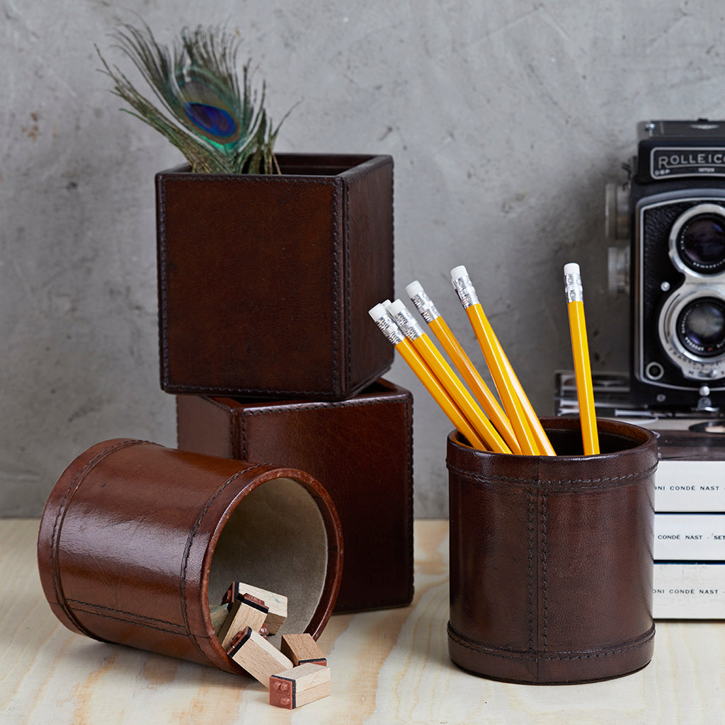 Pen pots in conker or dark brown leather