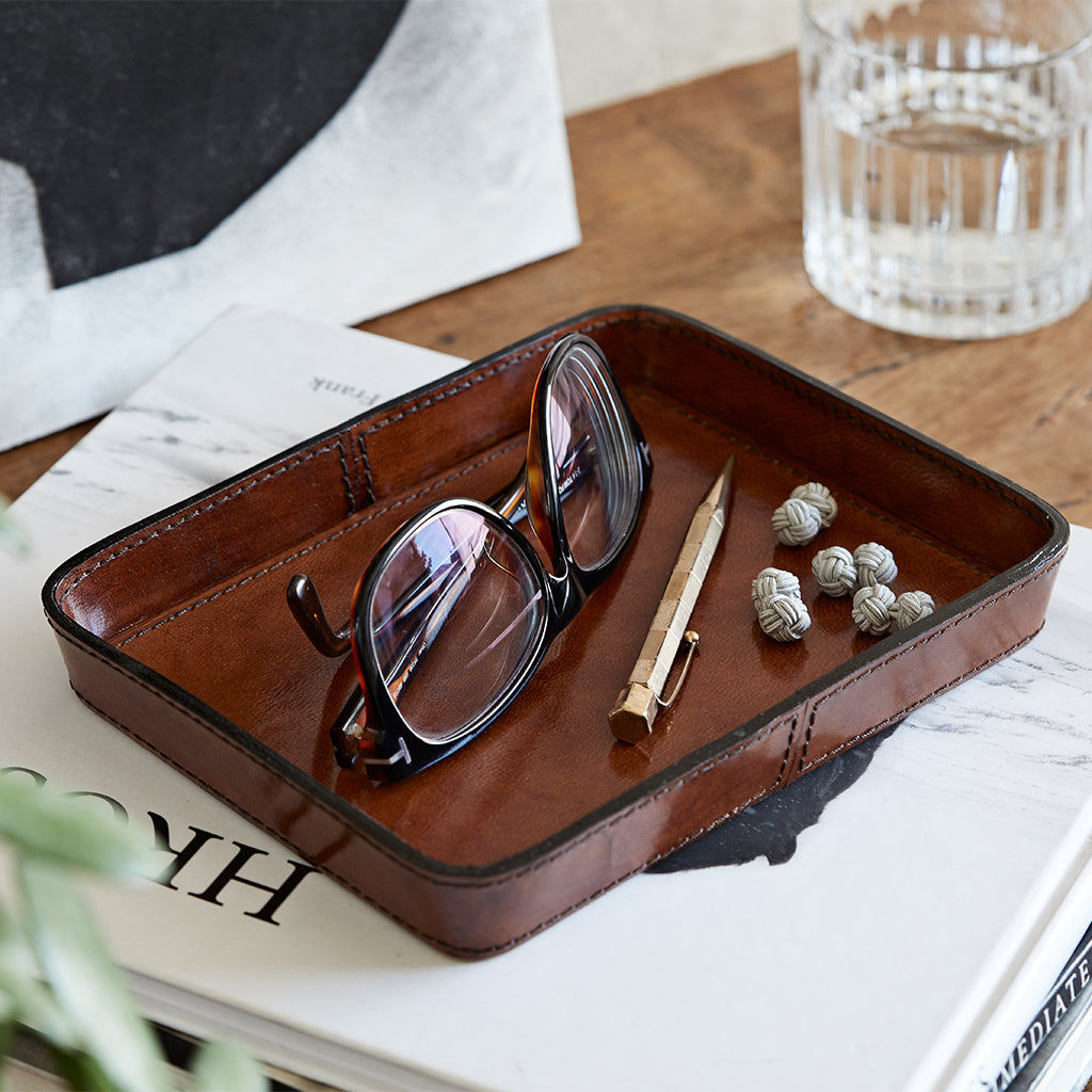 Leather stash tray
