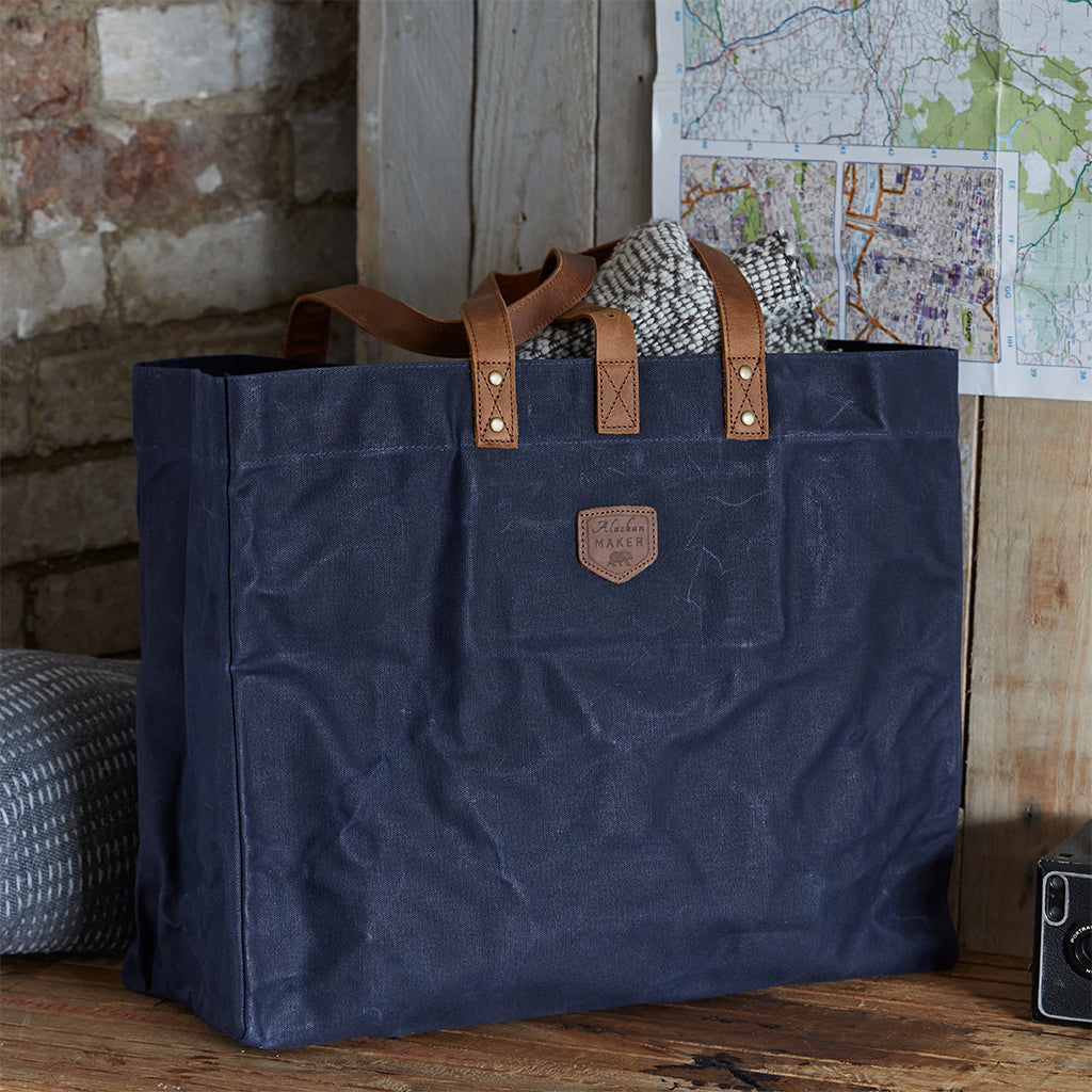 blue waxed canvas tote bag