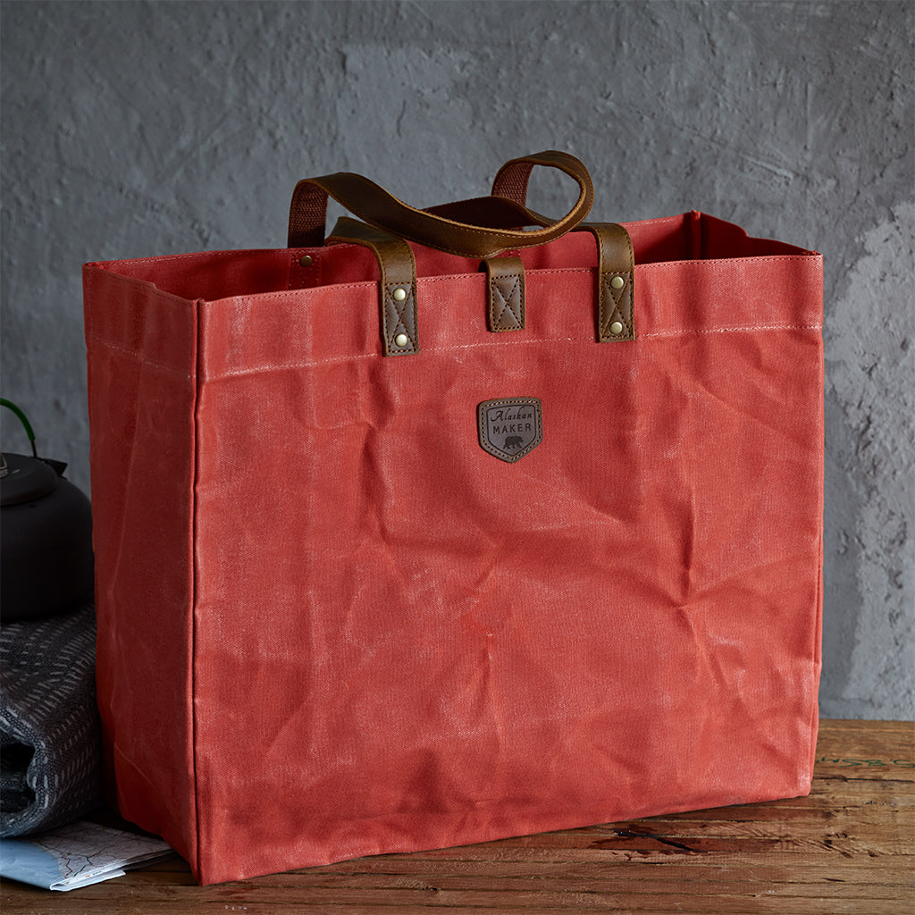 waxed canvas tote bag orange