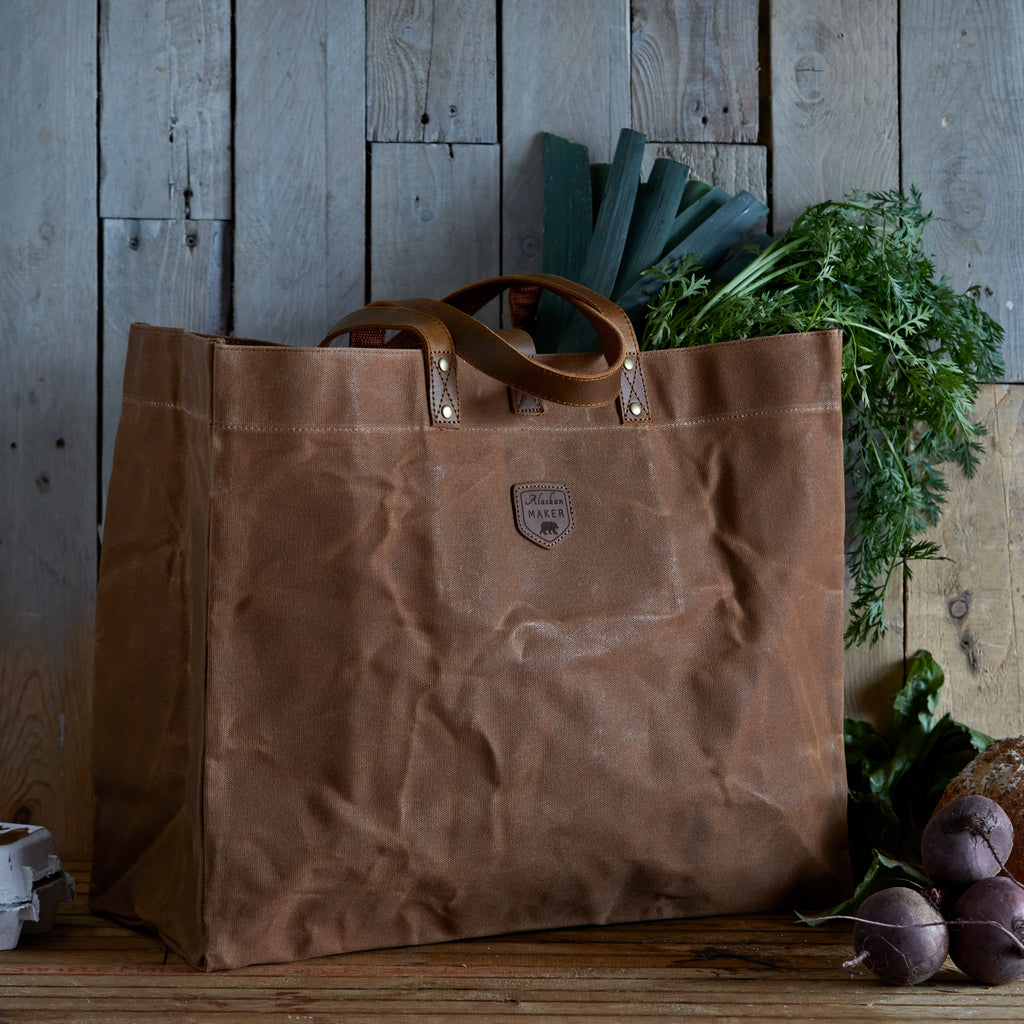 brown tote bag waxed canvas