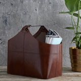 Leather Buckled Magazine Basket