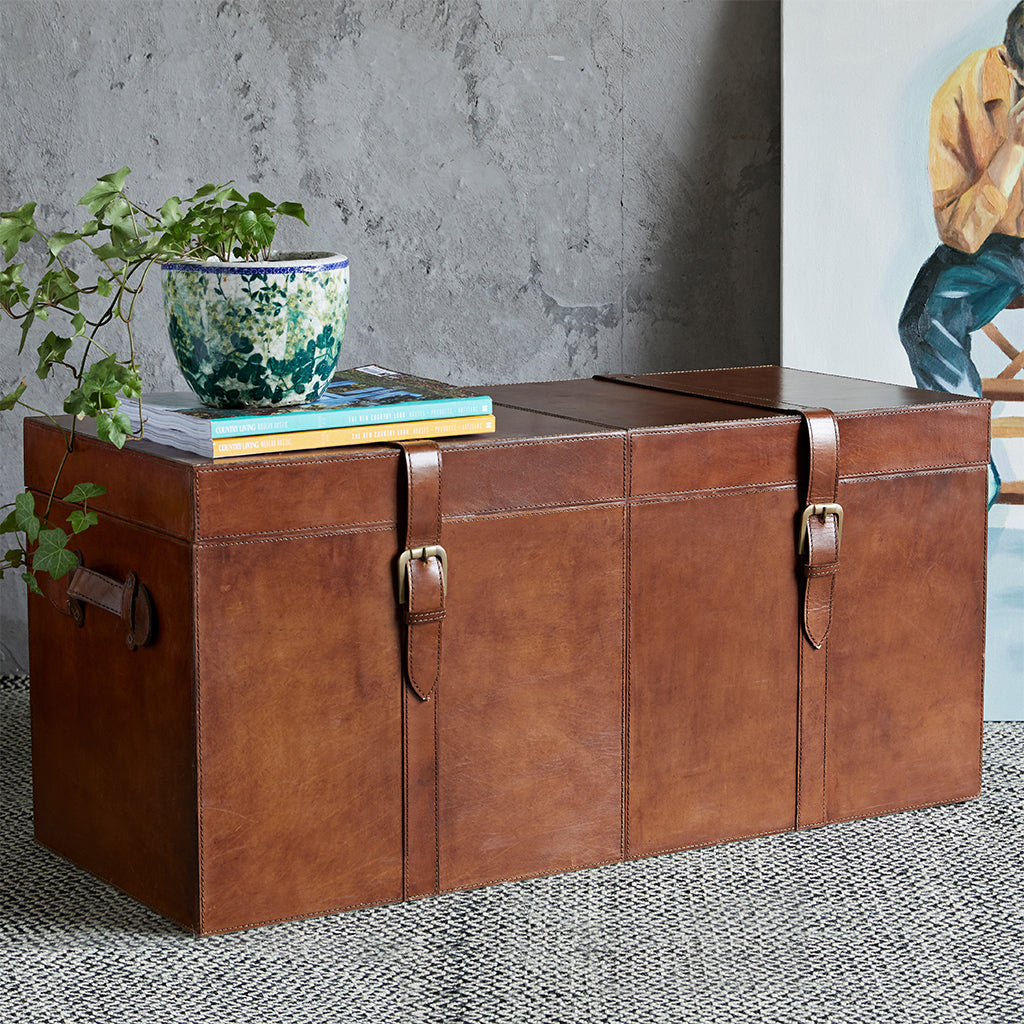 Leather chest can fit vinyl records in