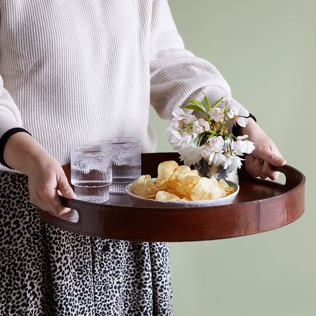 leather serving tray round