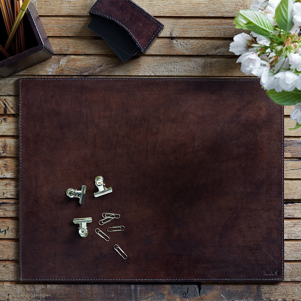 leather bureau desk mat in dark chocolate brown