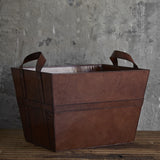 Leather Magazine Basket