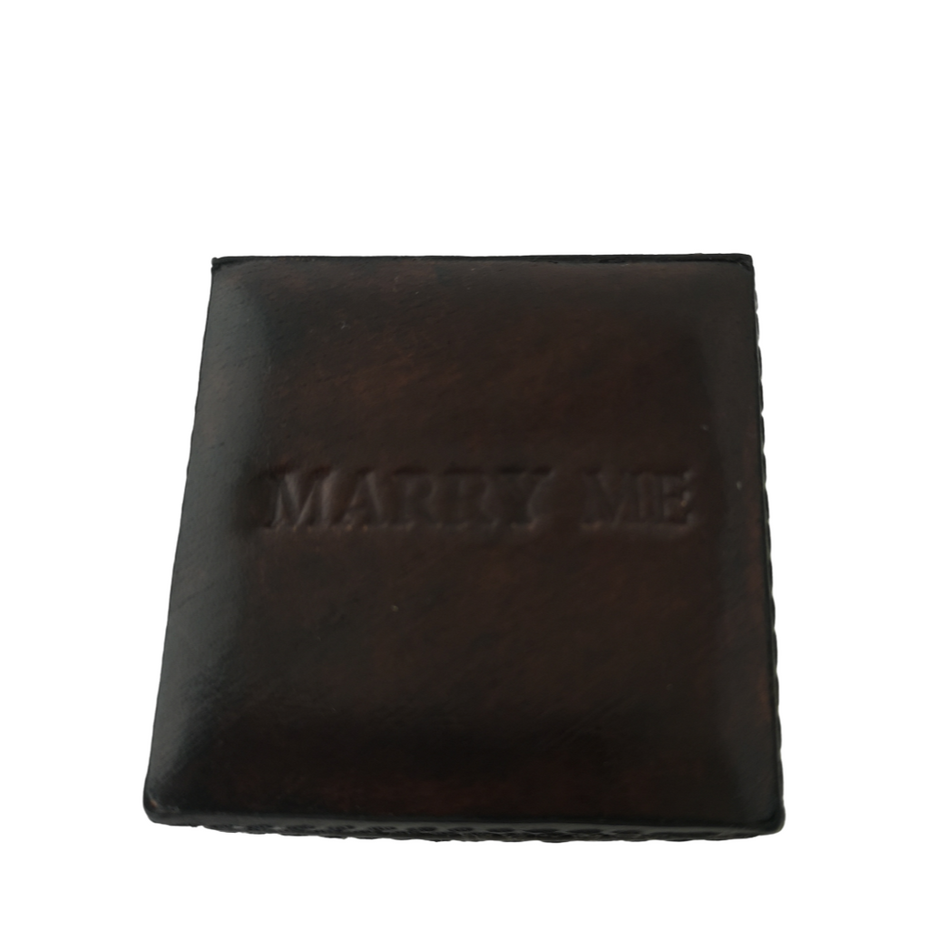 marry me personalised chocolate brown ring box