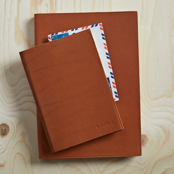 Gift Set of Leather Bound Notebooks. A4 and A5