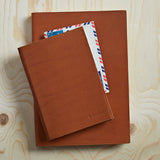 Caramel brown leather notebook in two sizes, A4 or A5