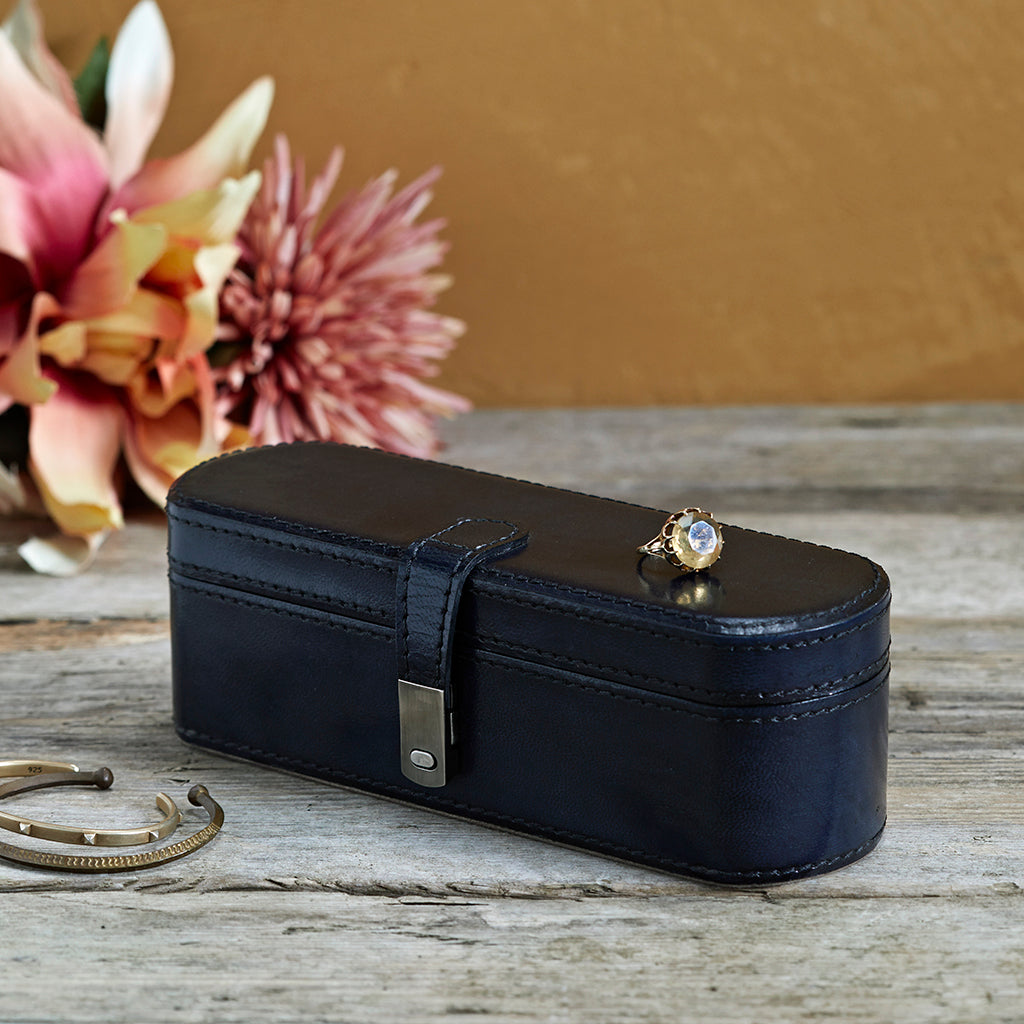 Leather Small Jewellery Box In Ink Blue