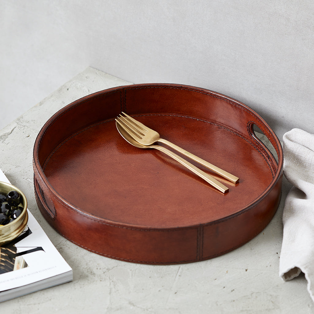 Conker Leather Round Drinks Tray