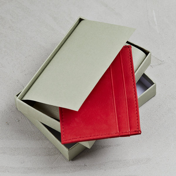 Red lamb leather wallet in gift box