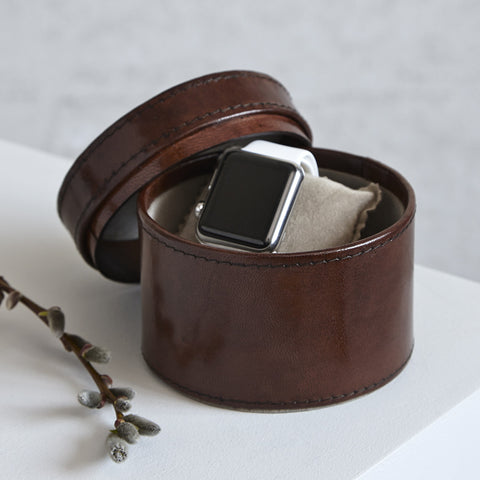 Round Leather Single Watch Box