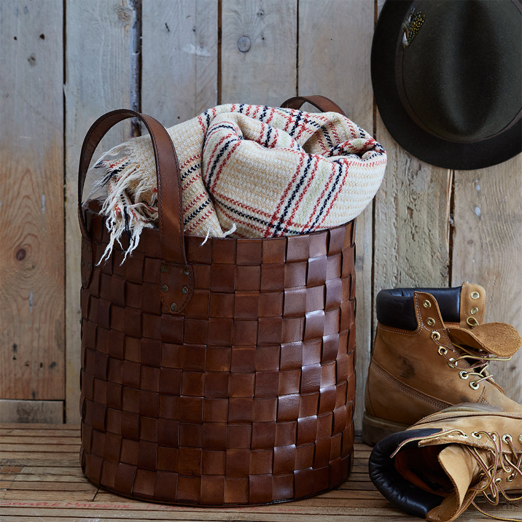 Leather Short Woven Basket