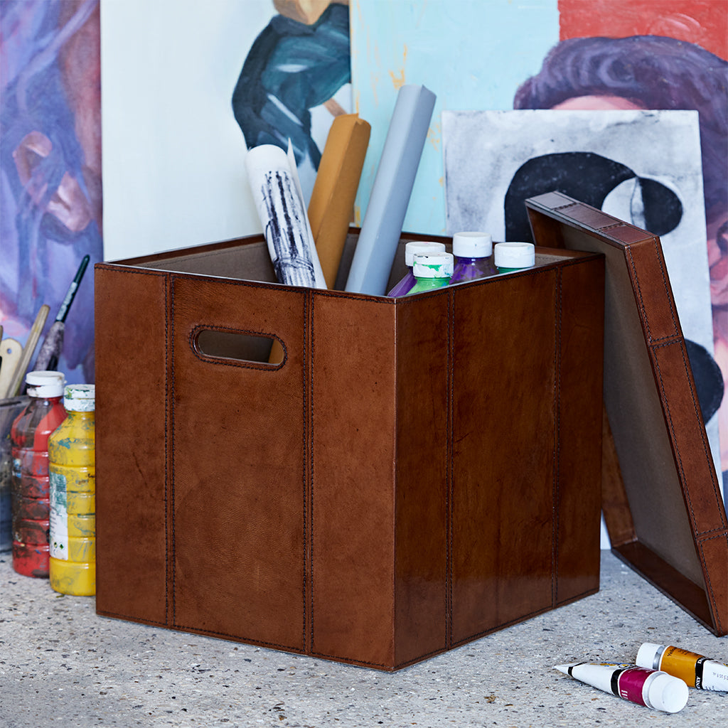 Square leather storage box for storing art supplies and other items