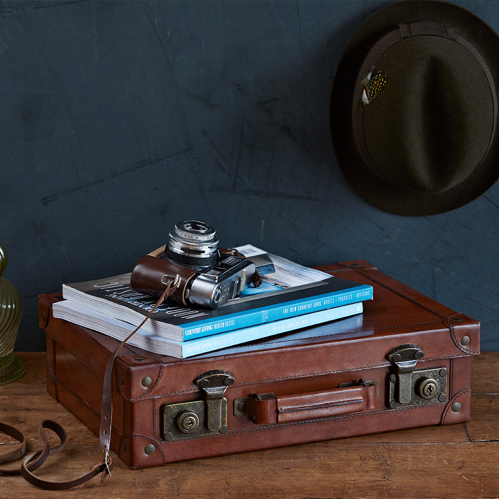 leather keepsake memory suitcase