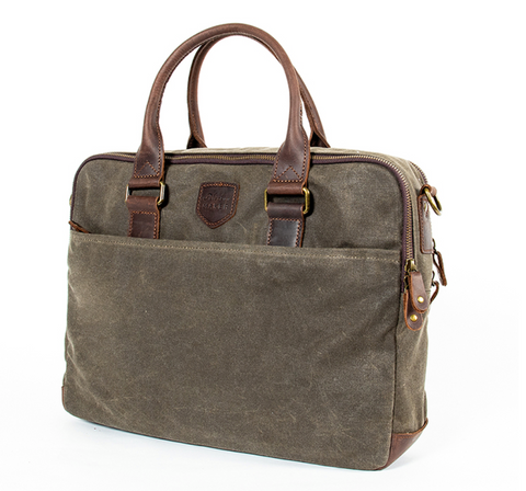 Waxed cotton laptop bag with leather detailing