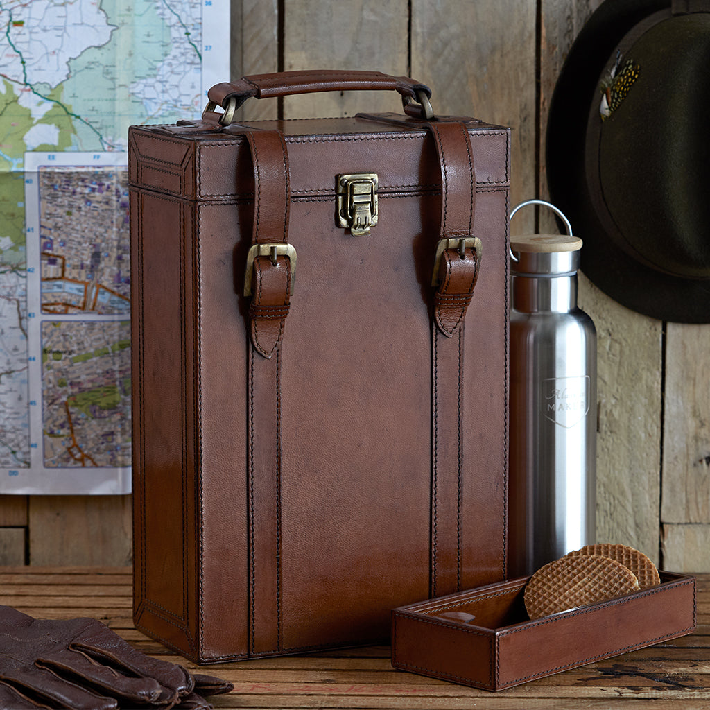 Leather Double Flask Carrier With Tray