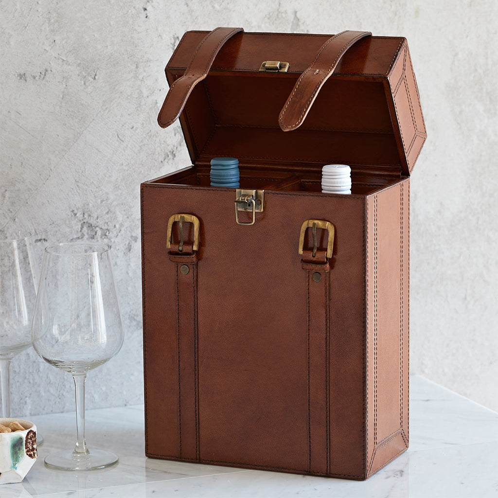 Two wine carrier with wine bottle open