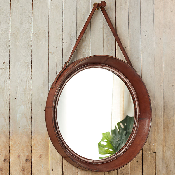 Leather Rimmed Wall Mirror