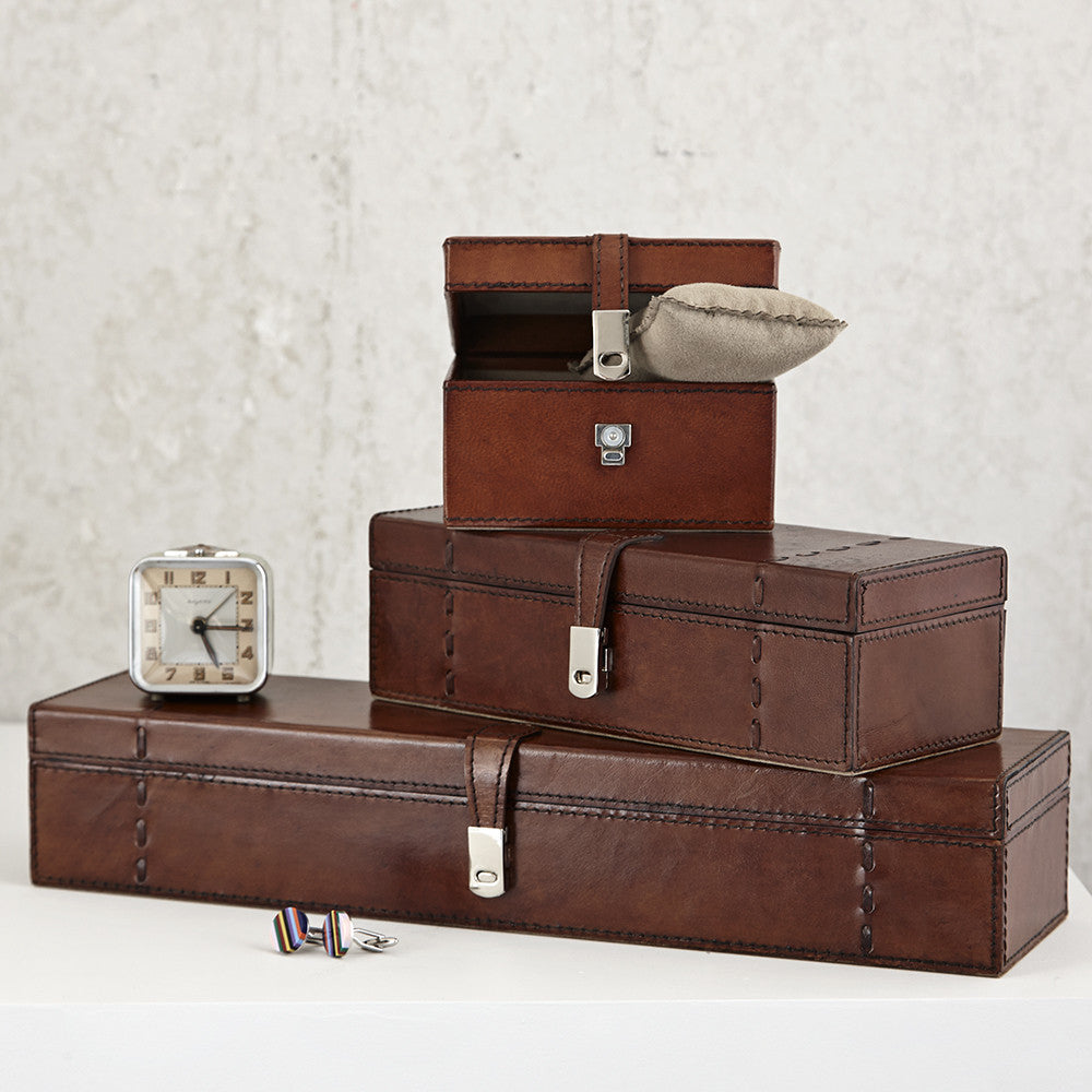 Three leather watch boxes various sizes