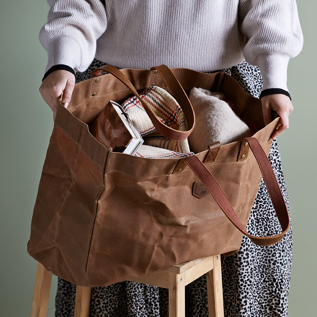 waxed canvas tote bag in brown