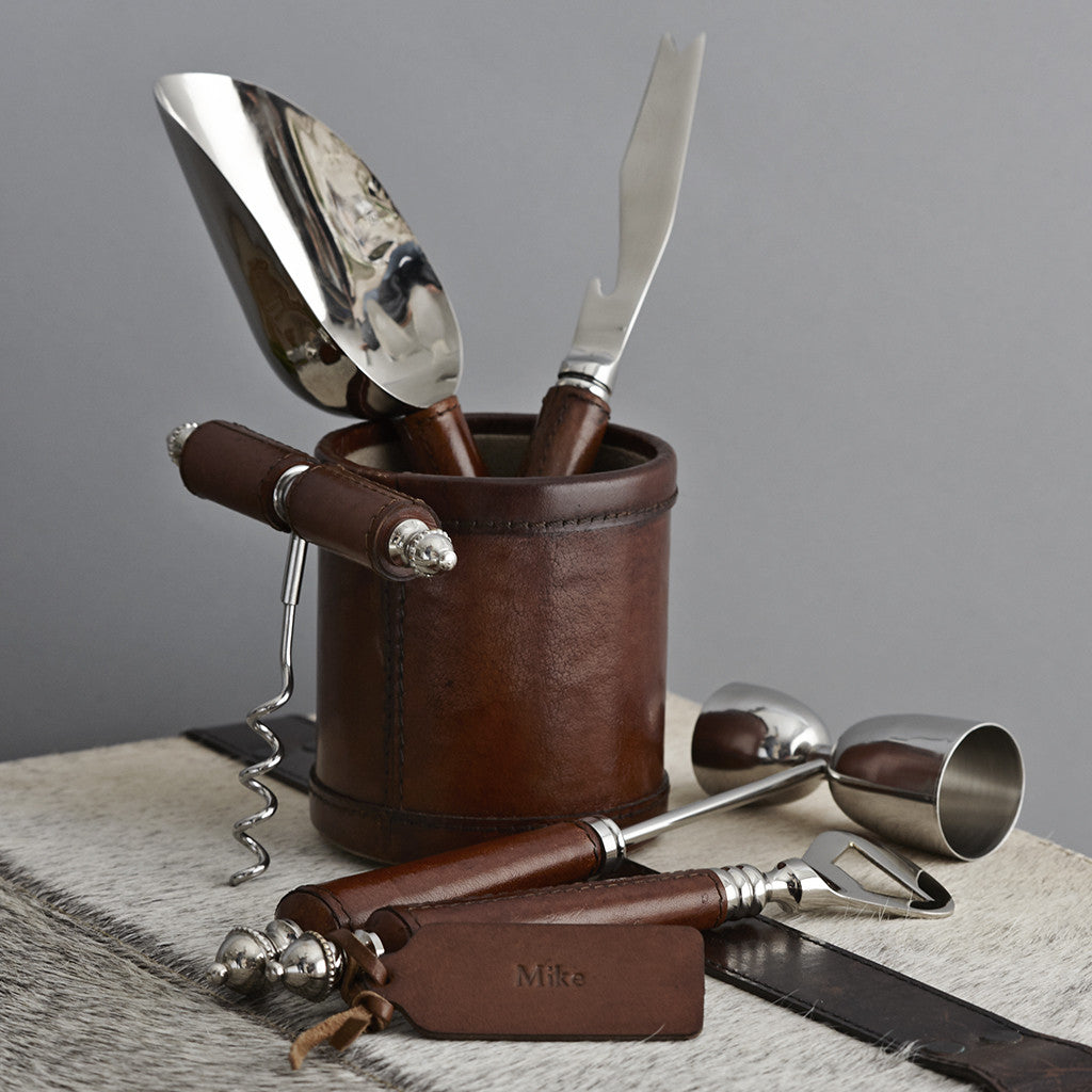 Bar tool collection with leather handles