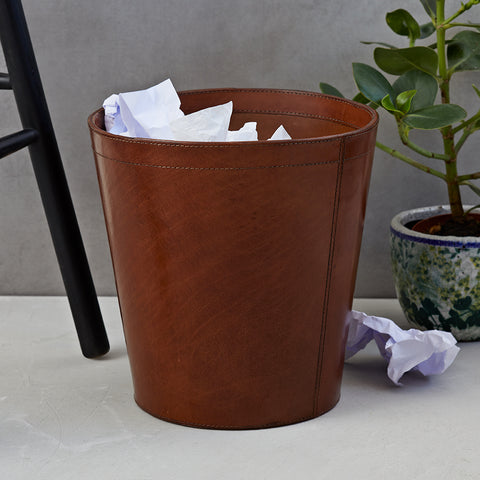 Leather waste paper bin