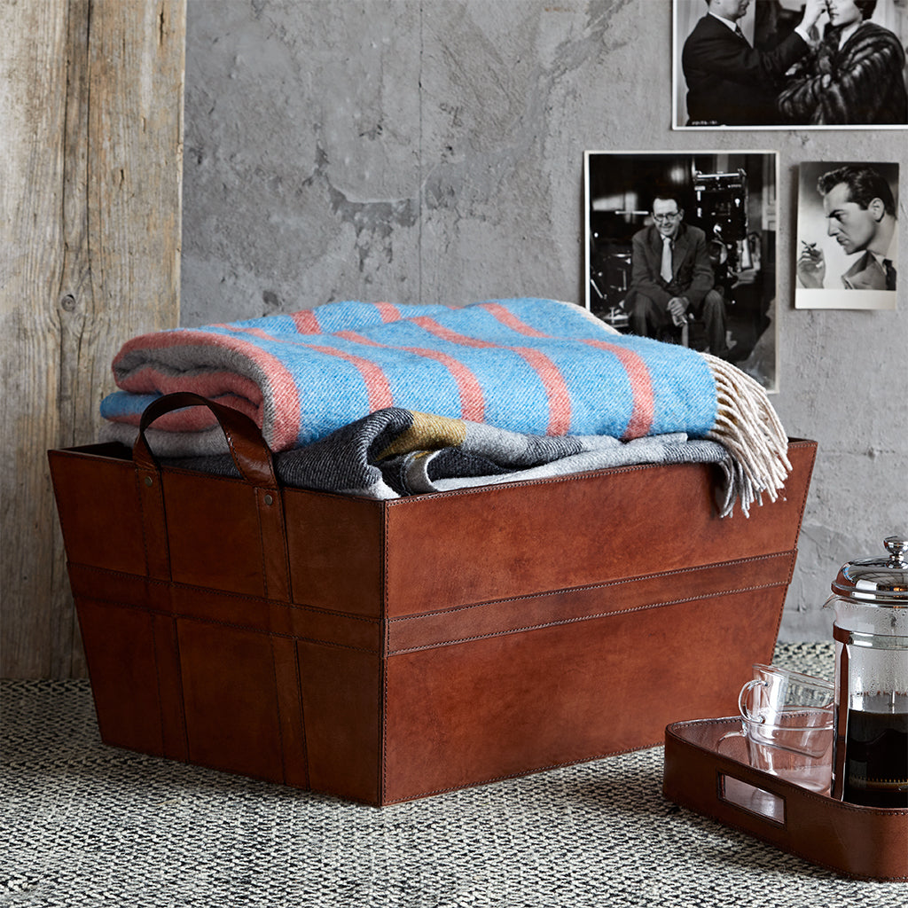 Leather Blanket Basket Useful In Any Room Towels Toys Books Life Of Riley Retail Ltd