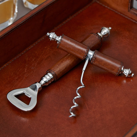 Leather Handled Bottle Opener and Corkscrew Gift Set.