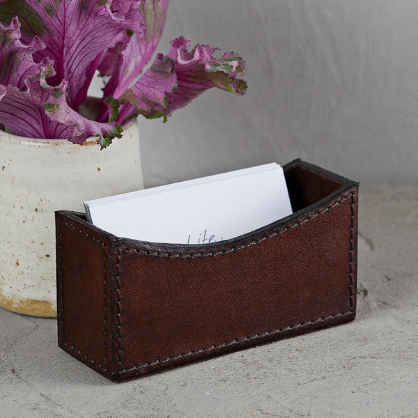 Dark chocolate brown business card holder