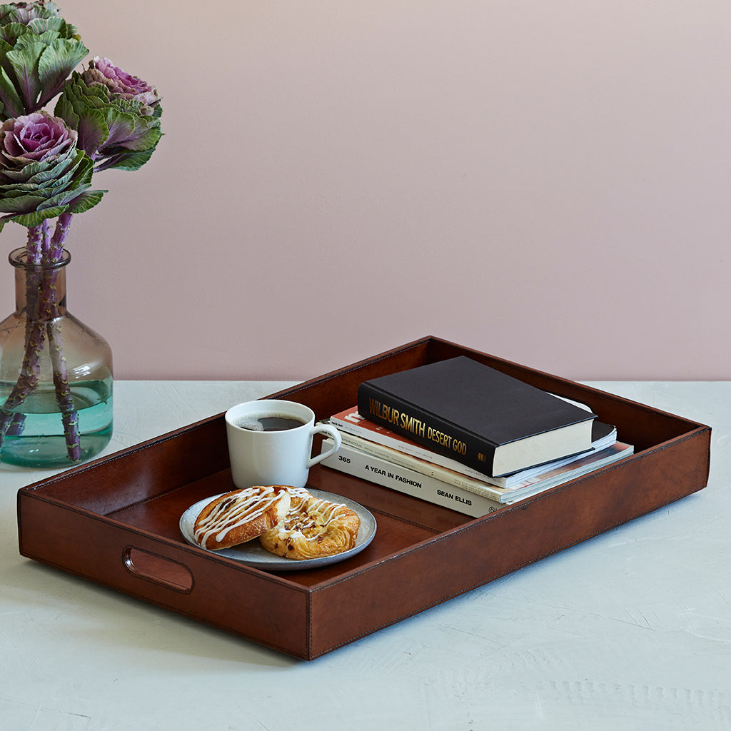 Conker brown leather ottoman tray