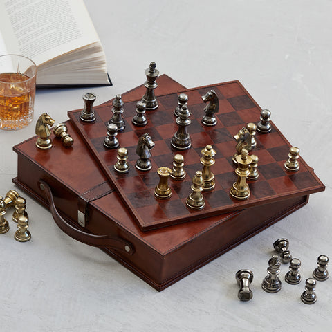 Handcrafted Leather Chess Board, case and pieces
