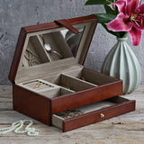 Classic jewellery box. one drawer in conker brown