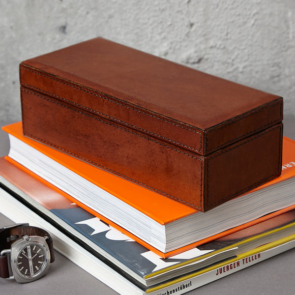 Conker brown leather desk stash box