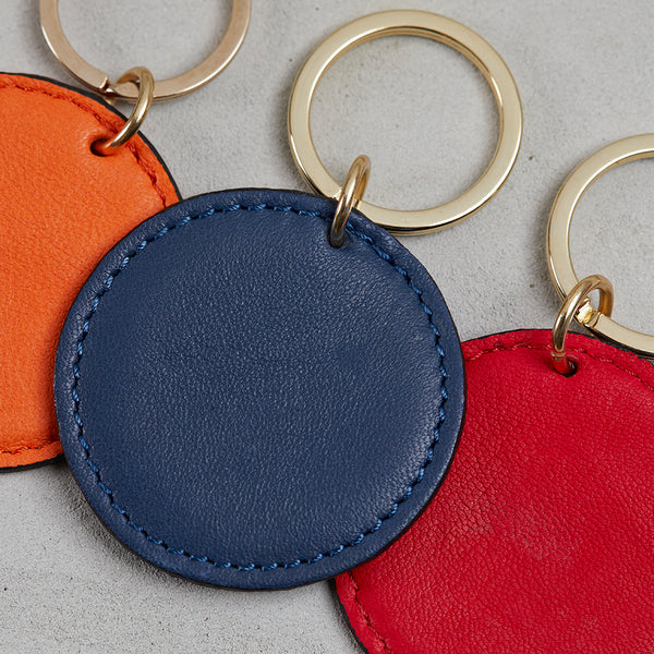 Leather disk key ring three colours