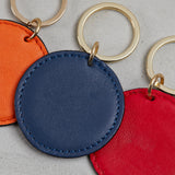 poppy red, french navy persimmon orange leather key rings