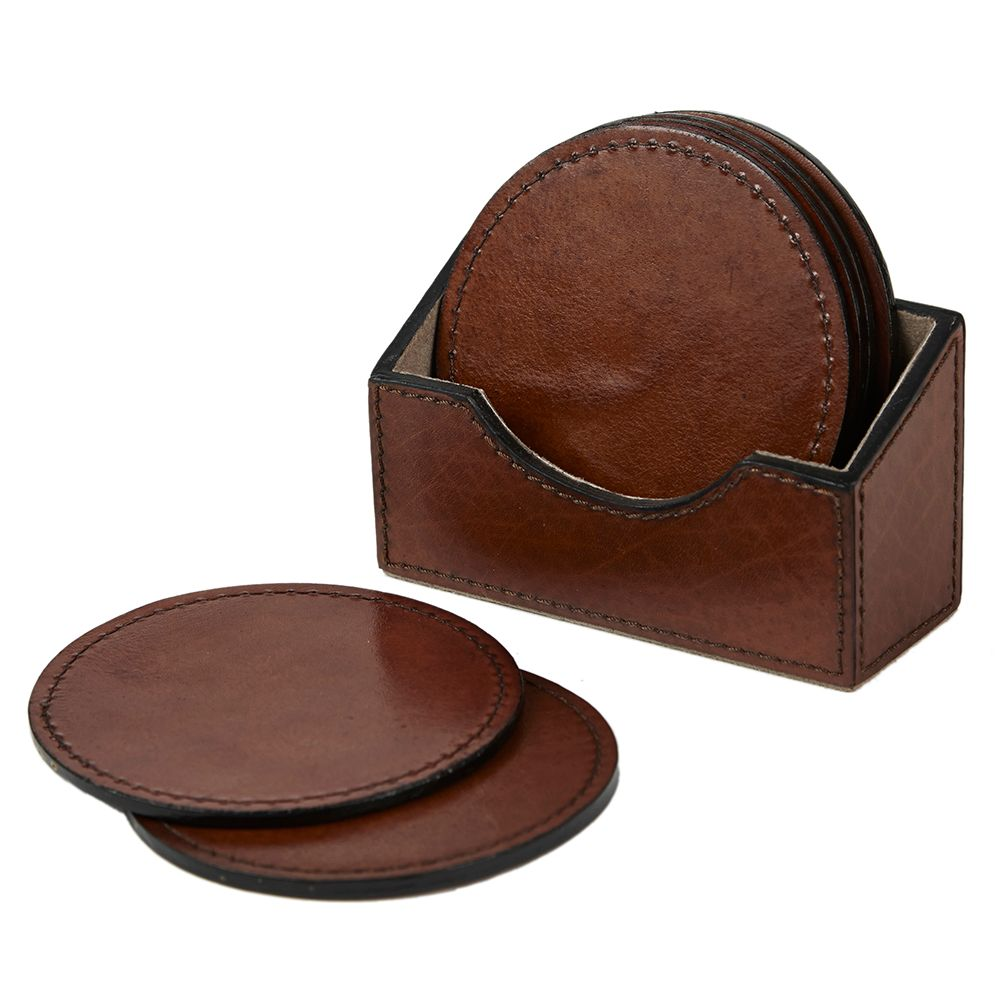 Seconds - Round Leather Coasters and Holder