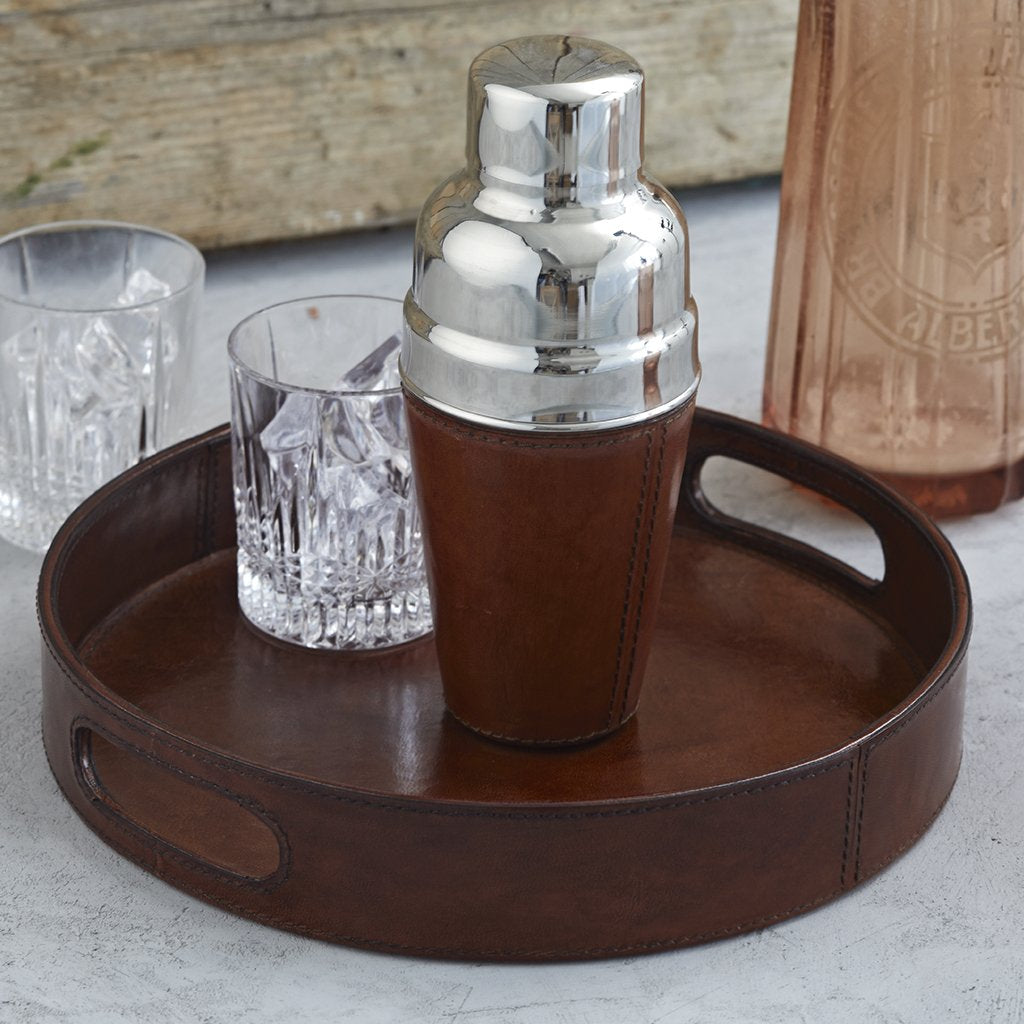 Conker brown leather cocktail shaker