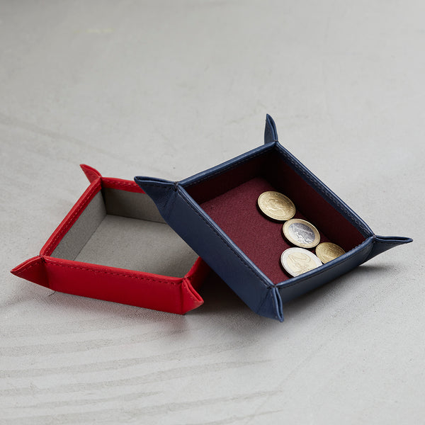 Navy and poppy red leather coin tray