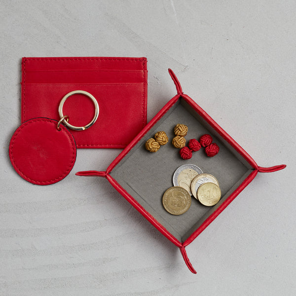 Poppy red leather coin tray wallet and key ring