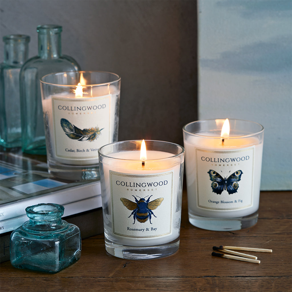 collingwood of somerset scented candles bee, butterdfly and feather