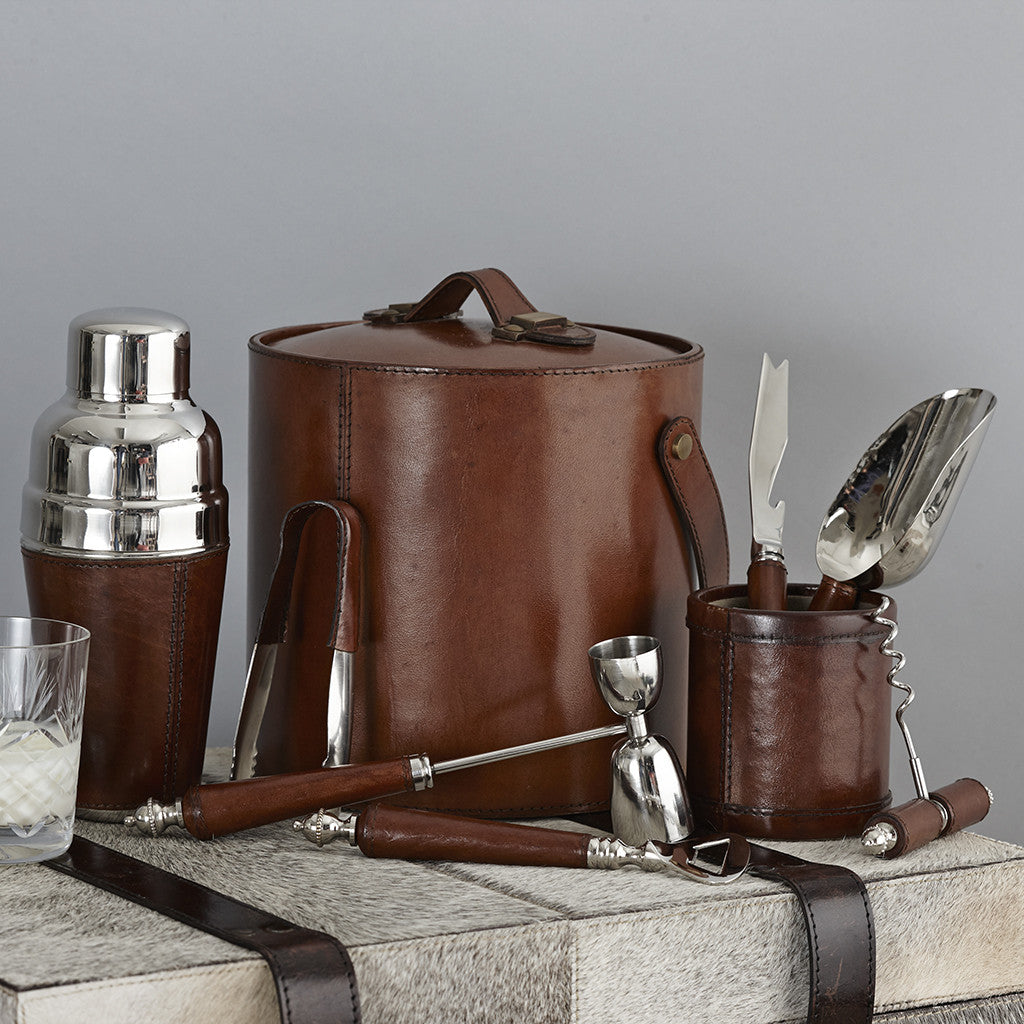 Complete cocktail hosting set in leather bound nickel