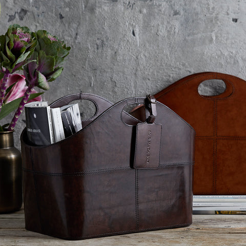Curved lethare storage basket in conker and chocolate brown