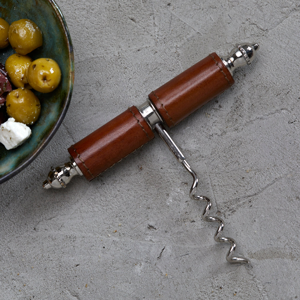 Leather handled corkscrew