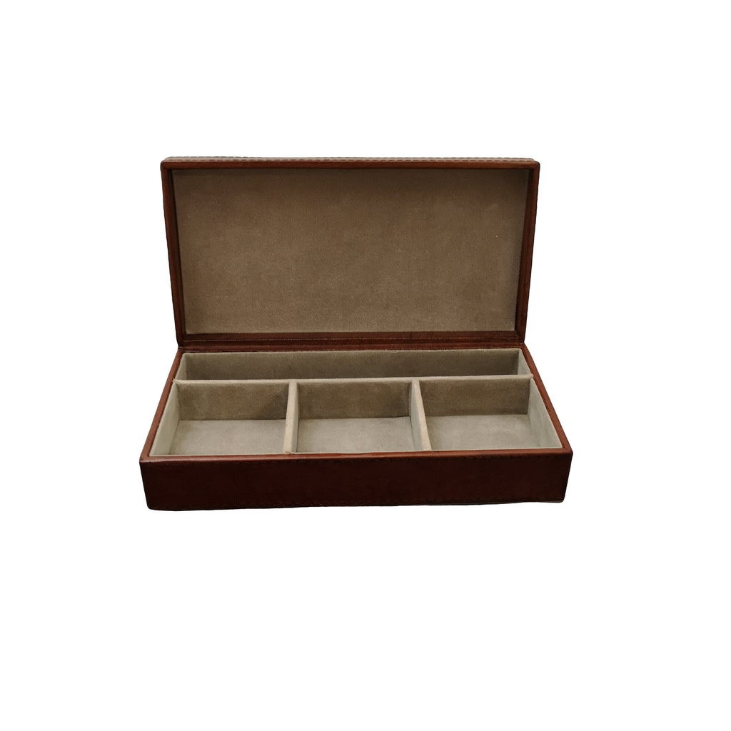 Personalised Seconds -  Conker Brown Leather Cufflink Box - N J