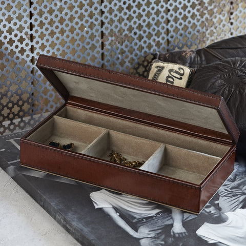 Conker leather cufflink box with faux suede lining