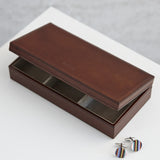 Conker brown leather cufflink box