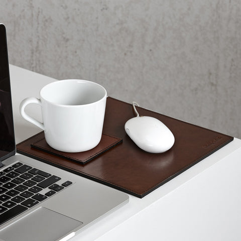 leather mouse mat and coaster